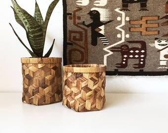 Vintage Wicker Round Planter Basket + Set of 2 + Indoor Gardening + Jungalow Boho + New Bohemians + Naturally Modern Neutral Woven Storage