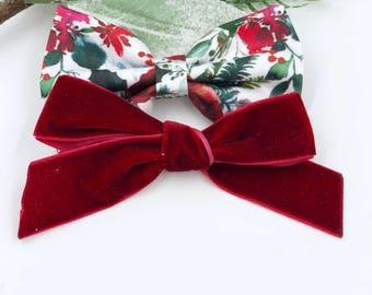 Baby Girl Bow set - Nylon Headbands - Hair clip - Infant / Toddler /  Fabric Hair Bows / Clips - Christmas floral - red velvet