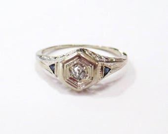 18K WG Sapphire & Diamond Deco Ring - X2657