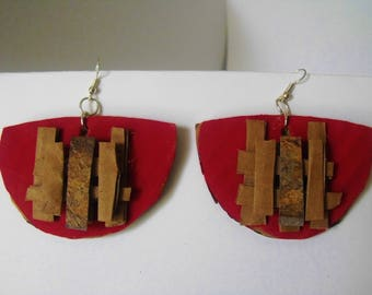 Cardboard Earrings - Red Abstract