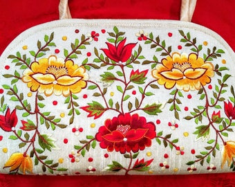Top handle bag embroidered bag floral bag gifts for her red roses bag embroidered iPad case India