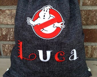 Personalized Ghostbusters Drawstring Backpack, Ghostbusters drawstring bag, personalized ghostbusters cinch sack, Ghostbusters backpack bag