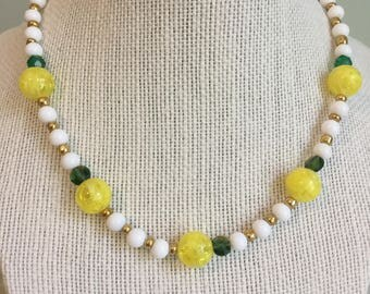 "Upcycled Jewelry ""Limoncello"" Beaded Necklace - Made with Vintage/ Recycled Materials"