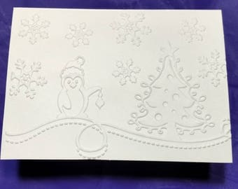 Christmas blank note card embossed ivory card.  Penguin and  Christmas tree with snowflakes.  set of 5