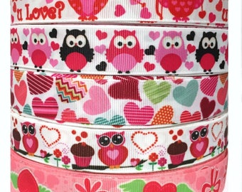 "GROSGRAIN RIBBON 7/8"" Valentine's Day Hearts Owls 5 Yard mixed Lot #A4 Printed ( 1 Yard per design in the picture ) -  Bulk - Wholesale"