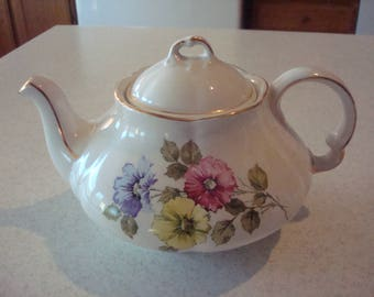 Vintage Woods & Sons Ellgreave English Ironstone Floral Tea Pot with Gold Flash