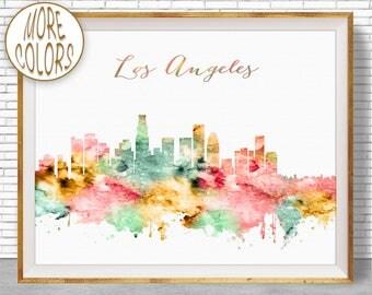 Los Angeles Art Los Angeles Print Los Angeles California Los Angeles Skyline Office Decor Skyline Art  ArtPrintZone Christmas Gifts