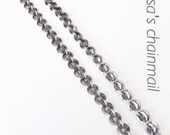 Chainmaille necklace, black ice necklace, minimalist necklace black ice, square wire, minimalist necklace, grey necklace, Tessa's chainmail