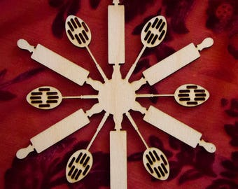 """Cooking Chef Laser Cut Wood """"Snowflake"""" Christmas Tree Ornament"""