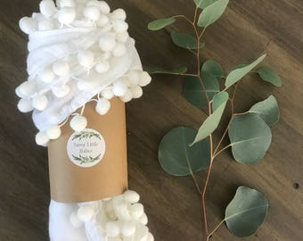 READY TO SHIP - Pom Pom Swaddle Blanket | Single Layer| Muslin Cotton Blanket | Baby Shower Gift | White Baby Blanket | Baby Gift |