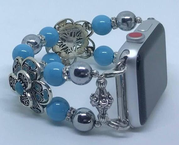 """Apple Watch Band, Women Bead Bracelet Watch Band, iWatch Strap, Apple Watch 38mm, Apple Watch 42mm, Swarovski Turquoise, Silver, Size 6 1/2"""""""