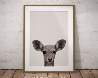 Nursery Baby Deer, Woodland Baby Deer, Baby Deer Art Print, Baby Deer Shower, Nursery Fawn, Nursery Deer Decor, Woodland Baby Deer Print
