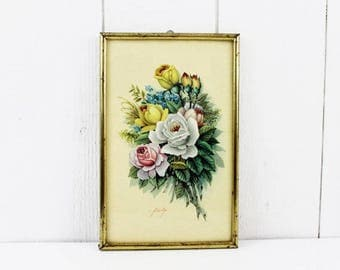 French country wall art - Bed Art, Shabby Chic Flower Artwork, French Flowers Framed Print, Floral Print Metal Frame Retro Wall Hanging