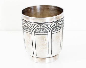 Silver Cup Vintage - Christening cup. French vintage. Art deco goblet. Silver plated tumbler. 1930s. Baby cup. Baby gift.