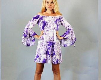 Style By Chris Purple with White Print Tunic Dress with Bell Sleeves XL-2XL-3XL