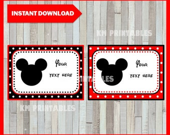 Mickey Mouse Printable Cards, tags, book labels, stickers, kids cards, gift tags, labeling, scrapbooking EDITABLE INSTANT DOWNLOAD