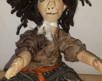 Pixie cloth art doll, with dreadlocks hair