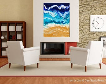 unique painting <ashore> acryl on canvas 80x60x4cm abstract artwork fluid pouring beach and ocean, sand & water, waves <art by zhu>