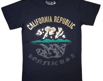 Konflic-NWT- California bear Golden-Foil T- Shirt