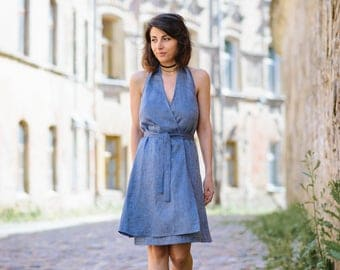 Handmade 100% linen dress with open shoulders and back