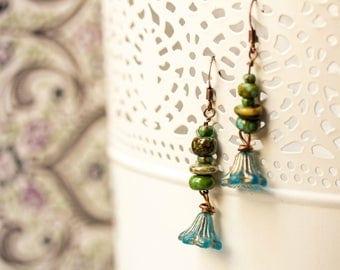 """Earrings """"Les Myosotis"""" Czech glass beads"""
