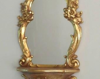Vintage Wall Mirror w/ Shelf/ Wall Shelf/ Mirror with Shelf/ Syroco Home/ Vintage Resin Mirror/ Gold Mirror/ Hollywood Regency/ Dart Ind.