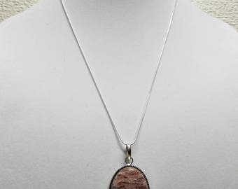 24 inch Sterling silver snake chain with jasper pendant
