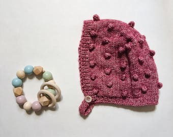 Popcorn knit - cotton - birth gift - baby bonnet hat size 0-6 months - workshop me