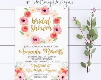 Floral Bridal Shower Invitation, Watercolor Floral Bridal Shower, Watercolor Bridal Shower Invitation, Floral Invitation