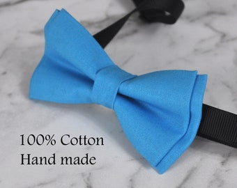 Boy Kids Baby 100% Cotton AQUA Bright Blue Bow Tie Bowtie Party Wedding 1-6 Years Old