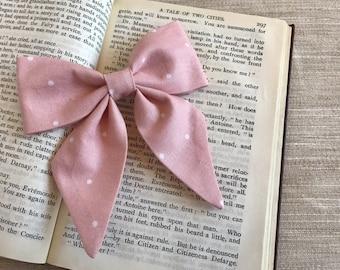 Pink With White Polka Dots Bow - Pink Bow - Hair Bow - Girls Hair Bow - Baby Hair Bow - Baby Girl Bows - Baby Headband Bow - Sailor Bow