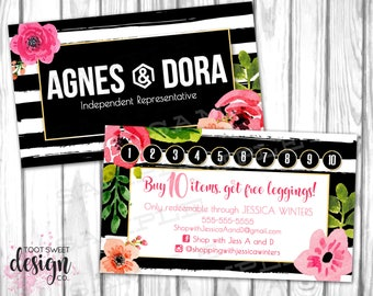 Agnes and Dora Loyalty Card, Agnes & Dora Business Card with Punch / Stamp, Black Stripe Floral, Buy 10 Get One Free Leggings, PRINTABLE