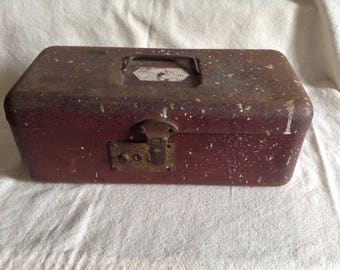 Vintage Reddish Colored Shabby Metal Utility Storage Tool Box, Fishing Tackle Box | the Foster Line - Cottage Chic, Rustic, Farmhouse