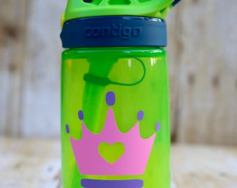 Personalized Kid's Toddler's Water Bottle, Contigo, Custom name kids bottle, gift for girls, 14 oz BPA free, Princess Crown, Girl's Bottle