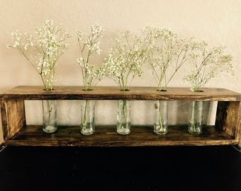 Wooden Flower Box With Vases