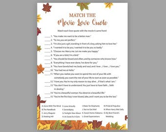 Fall Bridal Shower Games, Match the Movie Love Quote, Printable Bridal Shower, Movie Quote Game, Movie Love Quotes, Autumn Fall Leaves, J016
