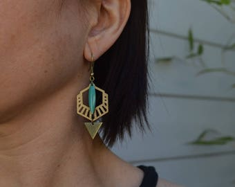 Earrings blue turquoise and brass bronze