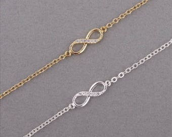 Silver or Gold Colour Infinity Love Bracelet Bridesmaids gift, mother of bride gift