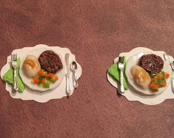 Dollhouse Miniature Meatloaf Dinners - Set of Two
