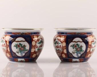 Imari - Flower Pots Gold Imari Hand painted - Japanese Design Mid Century Modern