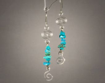 Turquoise chip and swirl dangle earrings