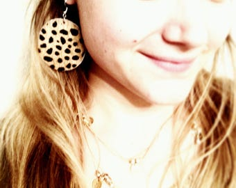 Hair-On Leather Circle Earrings in Leopard Print