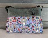 Alice in Wonderland Blue Gabby Handbag with Blue Speckled Cork Accents