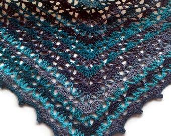 Crochet Shawl, Stunning Shimmery Shawl, Lightweight Shawl, Crochet Wrap, Crochet Gift, Lacy Wrap, Lace Shawl, Green Blue Shawl