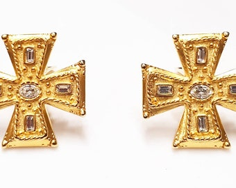 Vintage Gold Crystal Maltese Cross Clip on Earrings