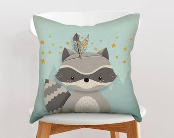 Woodland nursery throw pillow, Woodland nursery pillow, Decorative nursery pillow, Throw pillow, Cushion cover, Raccoon pillow, Forest decor