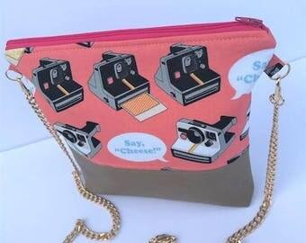 Say Cheese! Retro Polaroid Camera Gold Chain Crossbody
