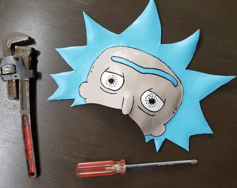Rick and Morty : RICK SANCHEZ leather mask Cosplay -- Wubba lubba dub dub! venetian mask to Get Schwifty !!