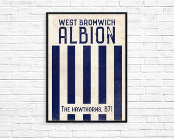 The Hawthorns West Bromwich Albion Football Club Print Picture Art Poster Retro Style Print Baggies