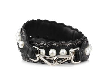 IstrapU-Shoulder strap in black leather with pearls,Bag strap leather replacement, Strap you